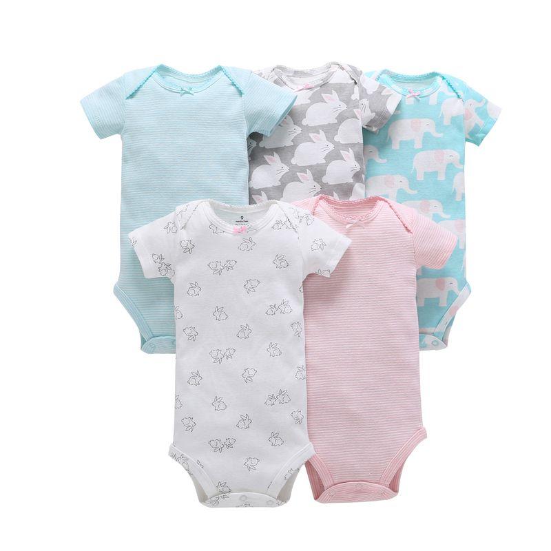 2018 toddler kid baby girl summer clothes bodysuit 5pcs 6M-24M short-sleeve cotton baby clothing girls clothing set jumpsuit
