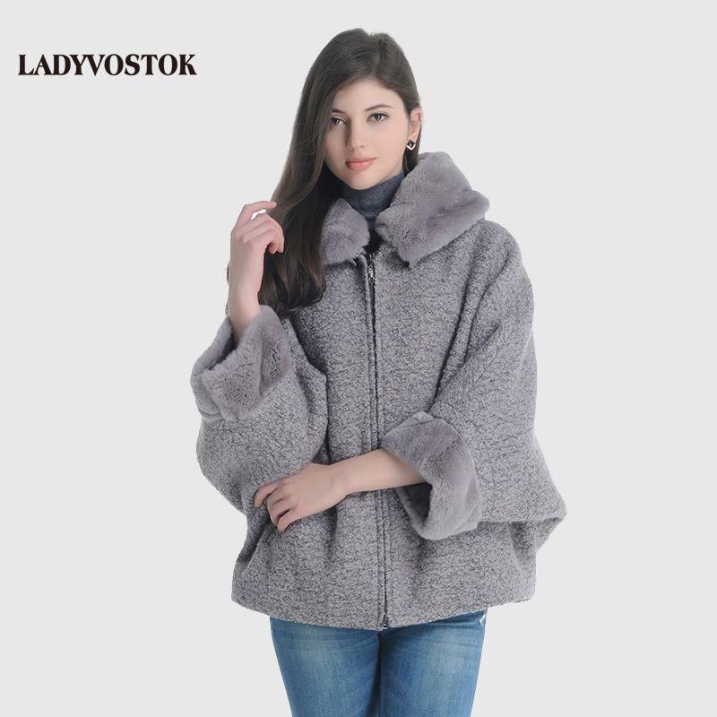 LADYVOSTOK Hooded Fur Collar Zipper Bat Sleeve Short Mink Fur Splice Women Winter Jacket Wool Coat Sheepskin Coat GY842