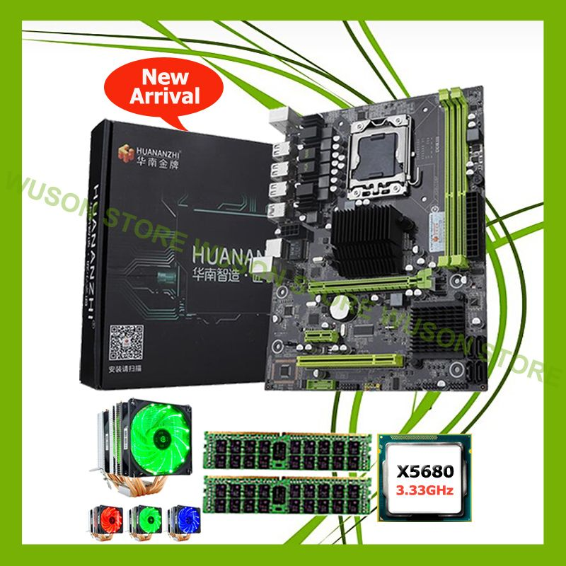 Erstaunlich berühmte marke motherboard HUANAN ZHI X58 Pro motherboard mit CPU Intel Xeon X5680 3,33 GHz mit kühler 16G DDR3 REG ECC