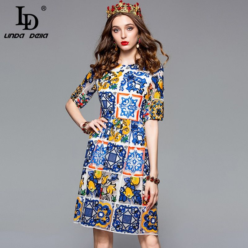 LD LINDA DELLA Mode Designer Vintage Kleid frauen Kurzarm Wunderschöne Spitze Mesh Mehrfarbigen Blume Stickerei Dünnes Kleid