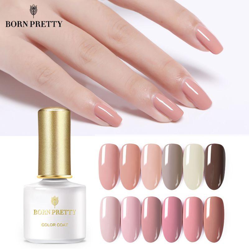 GEBOREN ZIEMLICH Rosa Nude Serie Reine Farbe Gel Polnischen 6 ml Tränken Weg Nail art UV LED Gel Lack Maniküre design