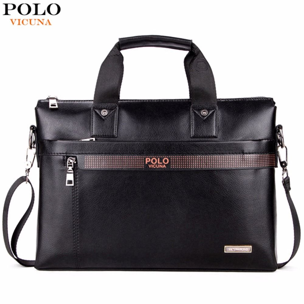 VICUNA POLO Top Sell Fashion Simple Dot Famous Brand <font><b>Business</b></font> Men Briefcase Bag Leather Laptop Bag Casual Man Bag Shoulder bags