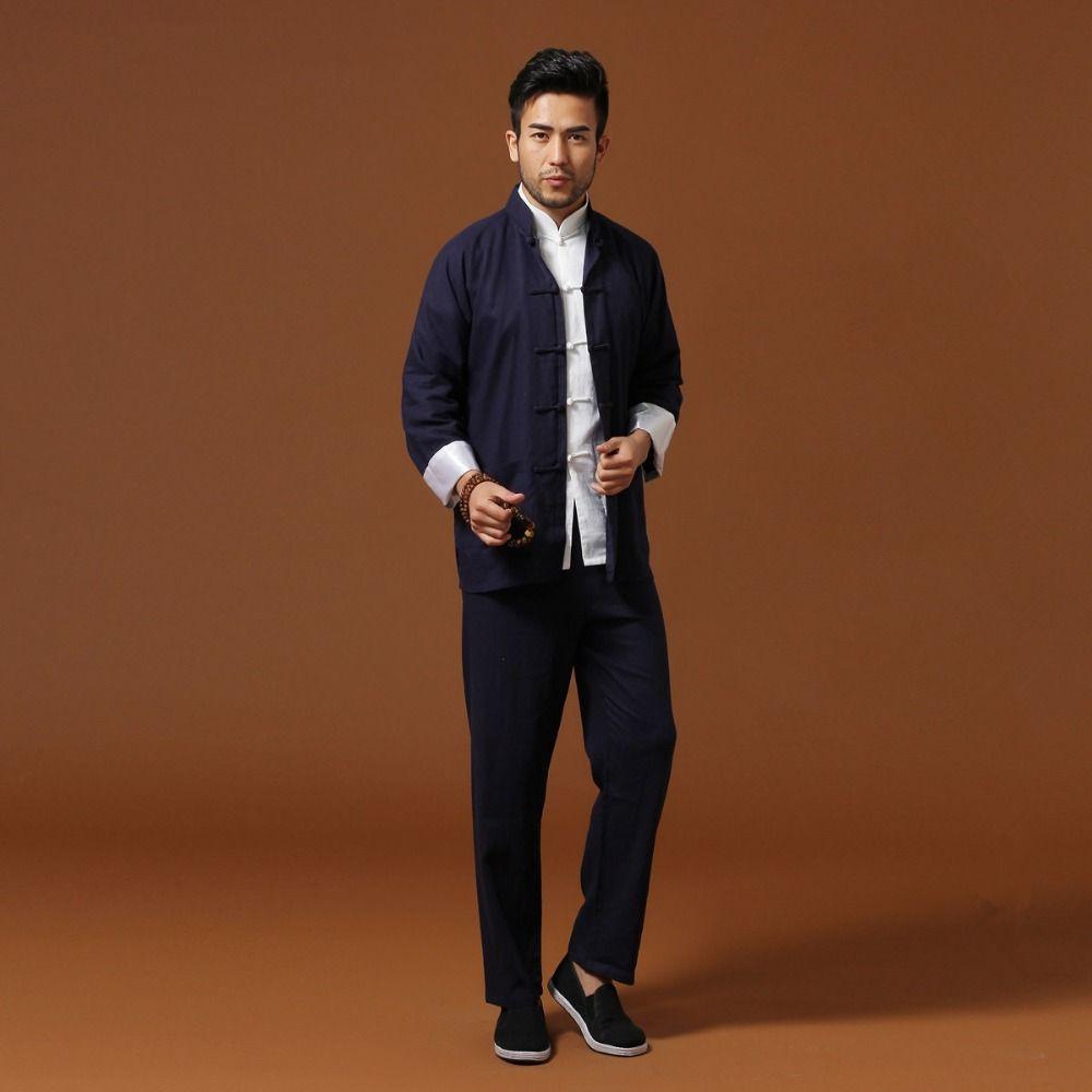 Marineblau Traditionelle Chinesische Klassische Stil Kung Fu Sets männer Baumwolle Leinen Hosen Jacke Anzug Größe S M L XL XXL XXXL Mnt01B