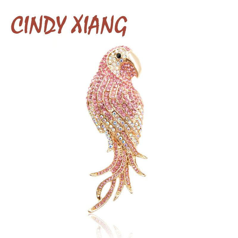 CINDY XIANG Pink Color Rhinestone Parrot Brooches For Women Large Style Bird Brooch Pin Fashion Jewelry Coat Accessories Gift