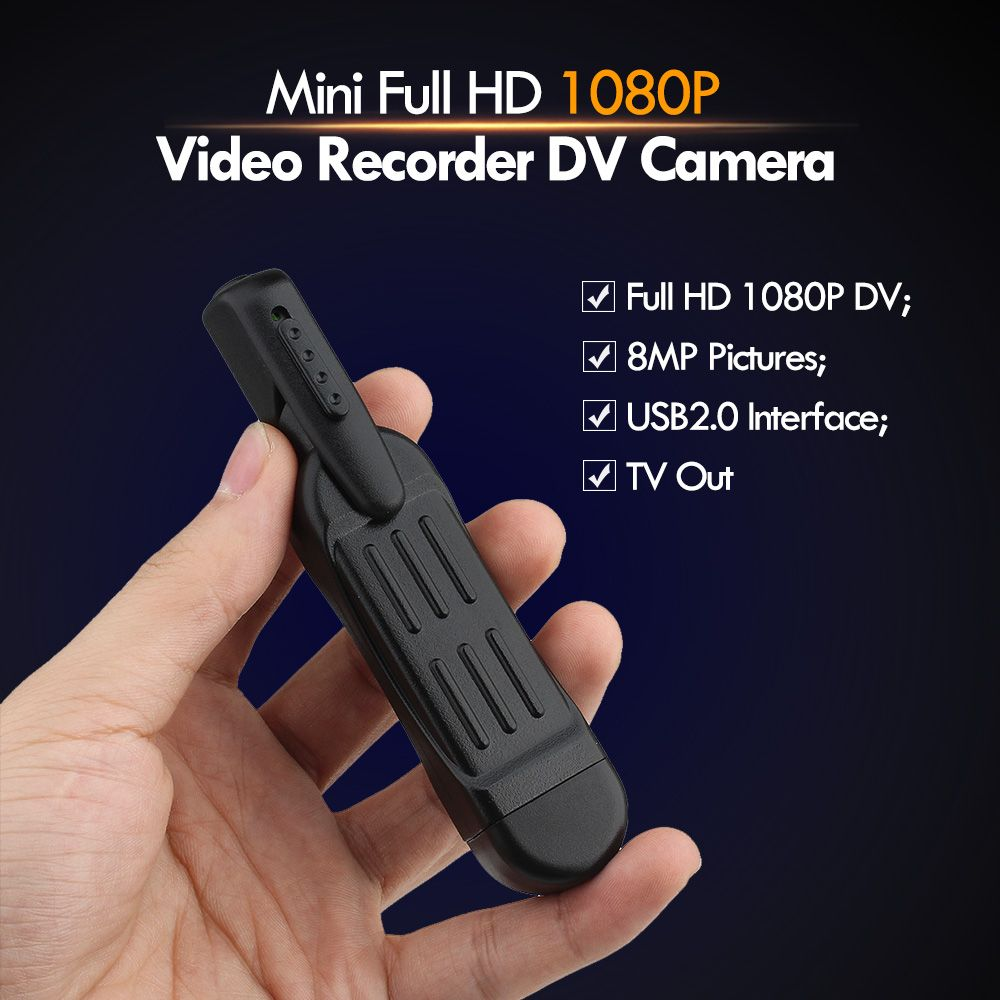 T189 8 MP Lens Full HD <font><b>1080P</b></font> Mini Pen Voice Recorder / Digital Video Camera Recorder Portable TV Out Pocket Pen Camera
