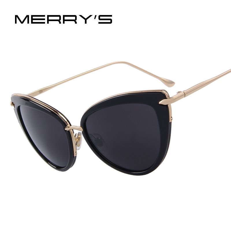 MERRY'S Fashion Women Cat Eye Sun glasses Oval Alloy Frame Mirror Lens Oculos de sol UV400