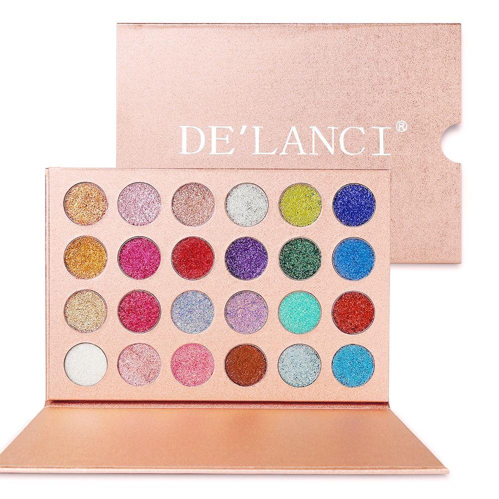 DE'LANCI 24 couleurs paillettes fard à paupières marque Pallete beauté cosmétiques diamant pressé paillettes ombre à paupières Pigment maquillage Palette