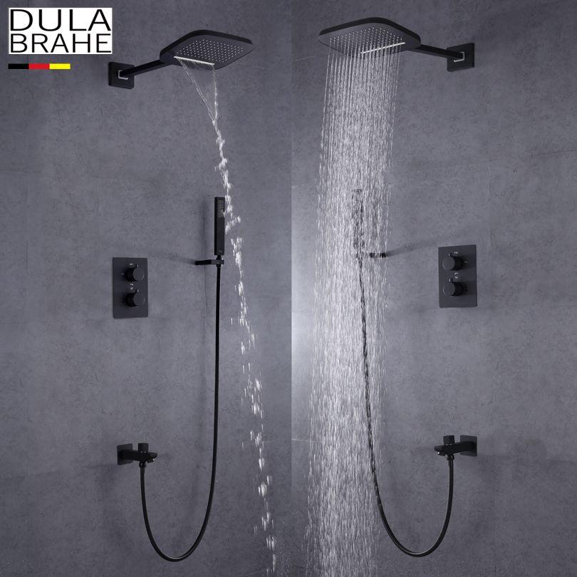DULABRAHE Schwärzen Bad Dusche Wasserhahn Set Wand Montiert Regen Messing Wasserfall Dusche Kopf Alle Kupfer Bad & Dusche Mischbatterie