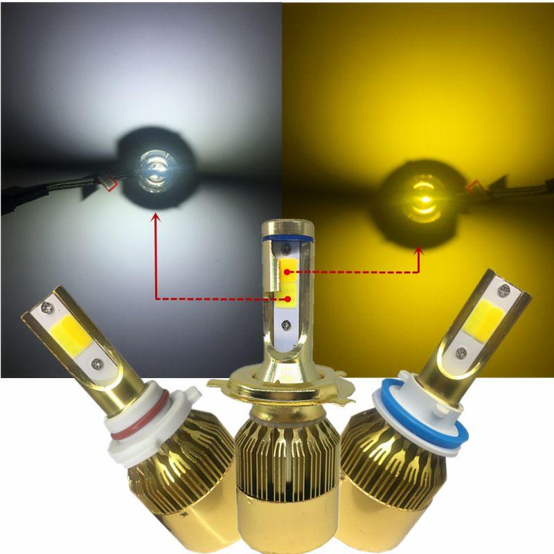 YHKOMS H4 LED Car LED Headlight H7 H8 H9 H11 H1 H3 H27 880 881 HB3 9005 HB4 9006 9012 Dual Double Color LED Light 3000K 6000K