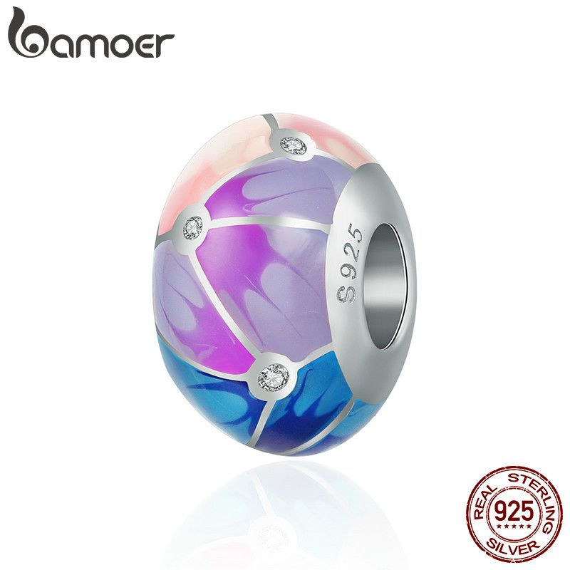 BAMOER Authentic 100% 925 Sterling Silver Colorful Enamel Round Charm Beads fit Girl Charm Bracelet & Bangle Jewelry S925 SCC497