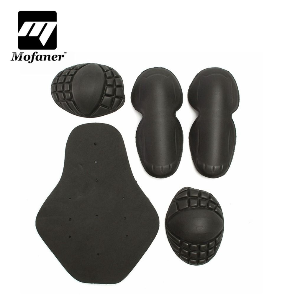 5 Pcs/Set Black Motorcycle Riding Shoulders Elbows Back Chest Knee Protection Pads Racing Safety Hard Armour
