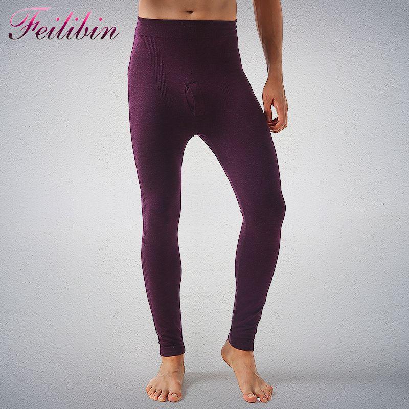 Los nuevos Hombres del Algodón Calzoncillos Largos Otoño Caliente Pantalones Delgados Elásticos de Los Hombres de Moda Ropa Interior Apretada Legging Calzoncillos largos