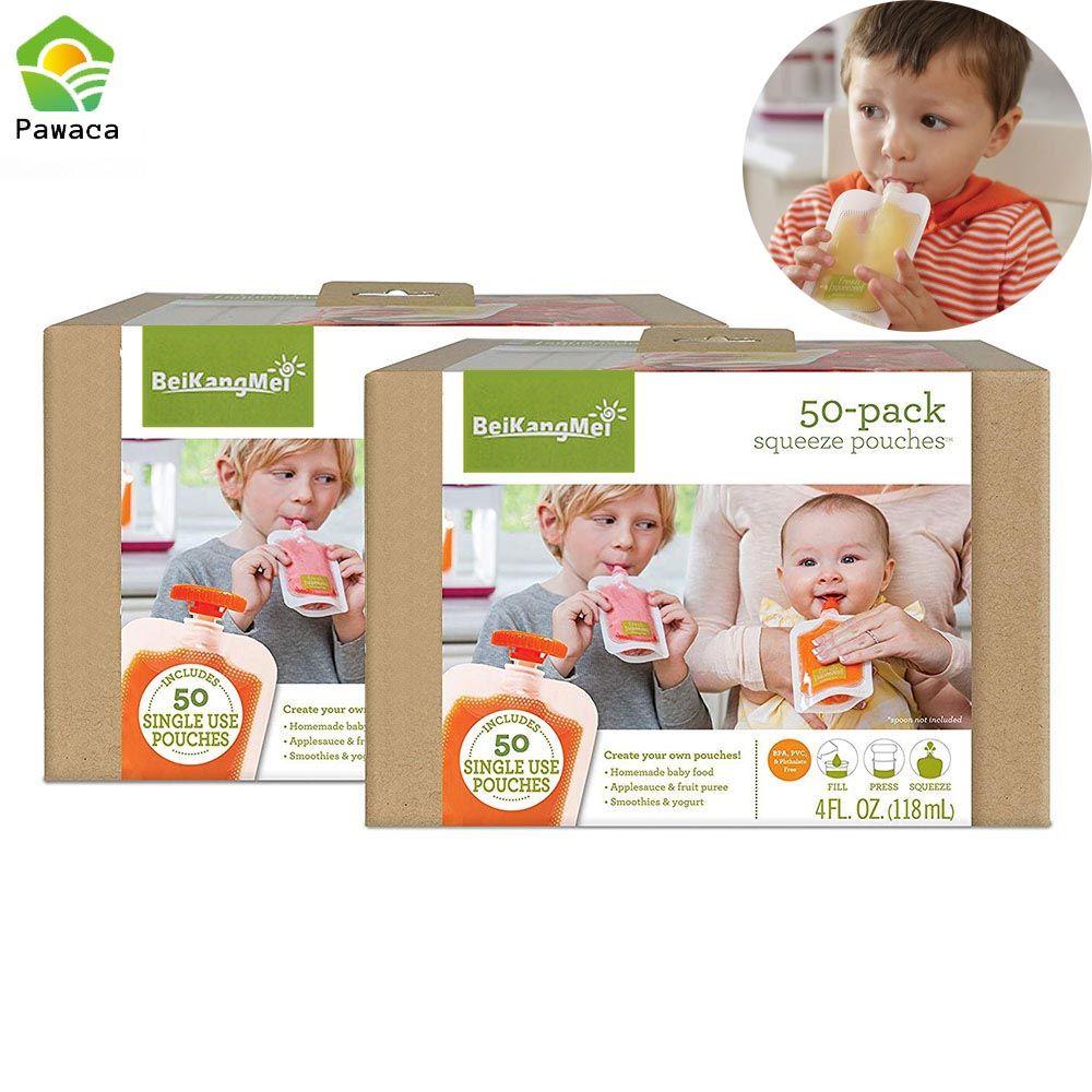 50 stücke Einzigen Verwenden Lebensmittel Beutel Verpackung Squeeze Beutel Kunststoff Smoothie Squeeze Taschen Nachfüllbare Frische Lagerung Tasche Mit Deckel