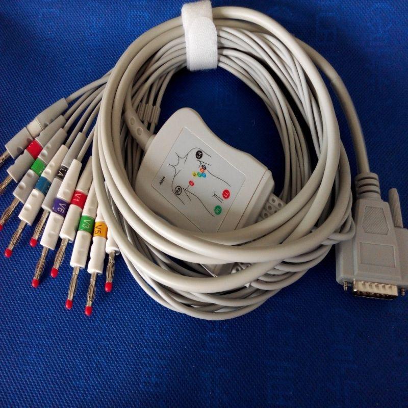 Compatible pour Nihon Kohden ECG-1250, ECG-1350 ECG EKG câble avec fils de plomb 10 fils médical ECG câble 4.0 banane fin AHA, TPU