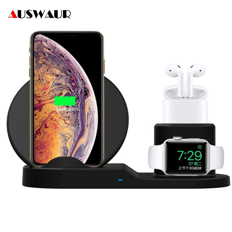 Chargeur sans fil rapide 3 en 1 pour Apple Watch iWatch 1 2 3 4 Airpods QI chargeur sans fil Dock pour iPhone XR XS MAX