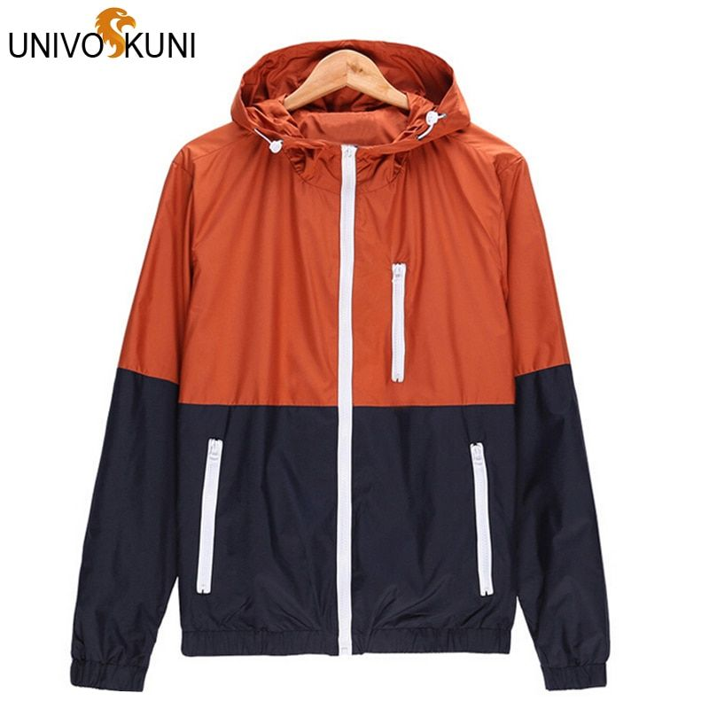 Univos куни Повседневная куртка Тонкий Для мужчин лето тонкий ветровка jaqueta де masculina спортивной Тонкий молнии Пальто для будущих мам 3XL zhy1499