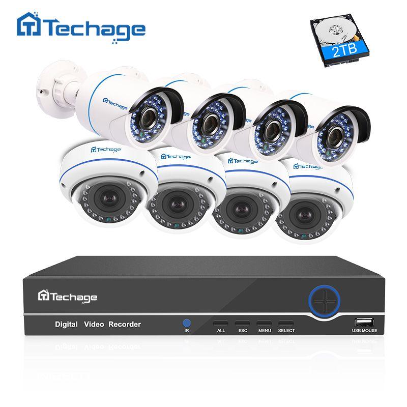 Techage 8ch 1080 P 48 В PoE NVR CCTV Системы 2.0mp купол в помещении на открытом воздухе IP Камера Всепогодный видеонаблюдения комплект 2 ТБ