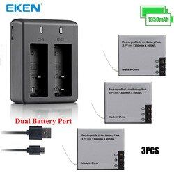 3PCS Original EKEN Real 1350mAh Battery with Battery Charger for SJ4000 Sj5000 M10 SJ7000 SooCoo c30 C50 EKEN H9 H3 V8 Series