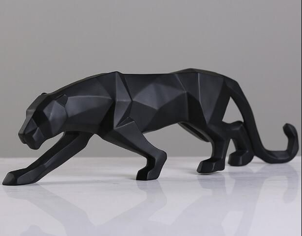 Modern Abstract Black Panther Sculpture Geometric Resin <font><b>Leopard</b></font> Statue Wildlife Decor Gift Craft Ornament Accessories Furnishing