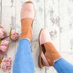 Femmes Sandales De Mode Peep Toe Chaussures D'été Femme Faux Suede Plat Sandales Taille 34-44 Casual Chaussures Femme Sandales Zapatos Mujer