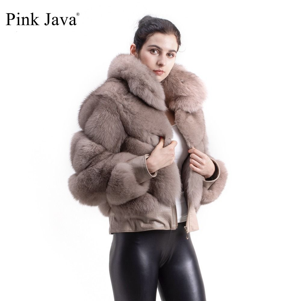 PINK JAVA QC1815 FREE SHIPPING 2018 new arrival women winter thick real fox fur jacket big collar with zipper Printed leather