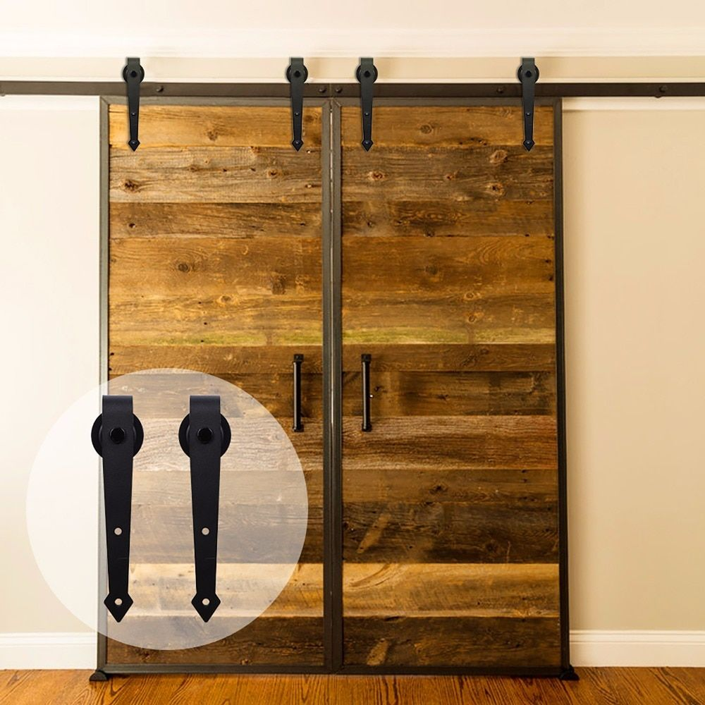 LWZH 6FT/7FT/7.5FT/9FT Steel Sliding Barn Door Arrow-Shaped Track Roller American Style Barn Door Hardware Kit for Double Door