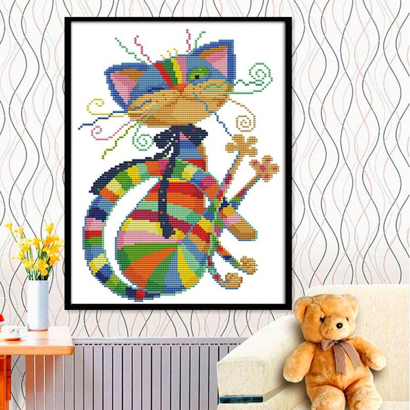 Beau chat coloré toile DMC compté point de croix Kits imprimé point de croix ensemble broderie couture
