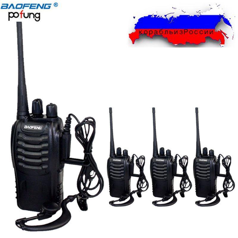 4Pcs Baofeng BF-888S Mini Walkie Talkie Portable Radio CB radio set BF888s UHF 888S Comunicador Transmitter Transceiver+4Headset