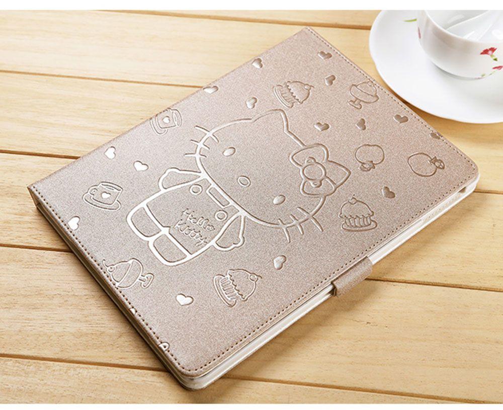 Pour ipad 9.7 étui 2017 2018 KT support de couverture en cuir PU tablette couverture nouveau mignon dessin animé 3D bouton Hello Kitty étui pour ipad Air 1/2