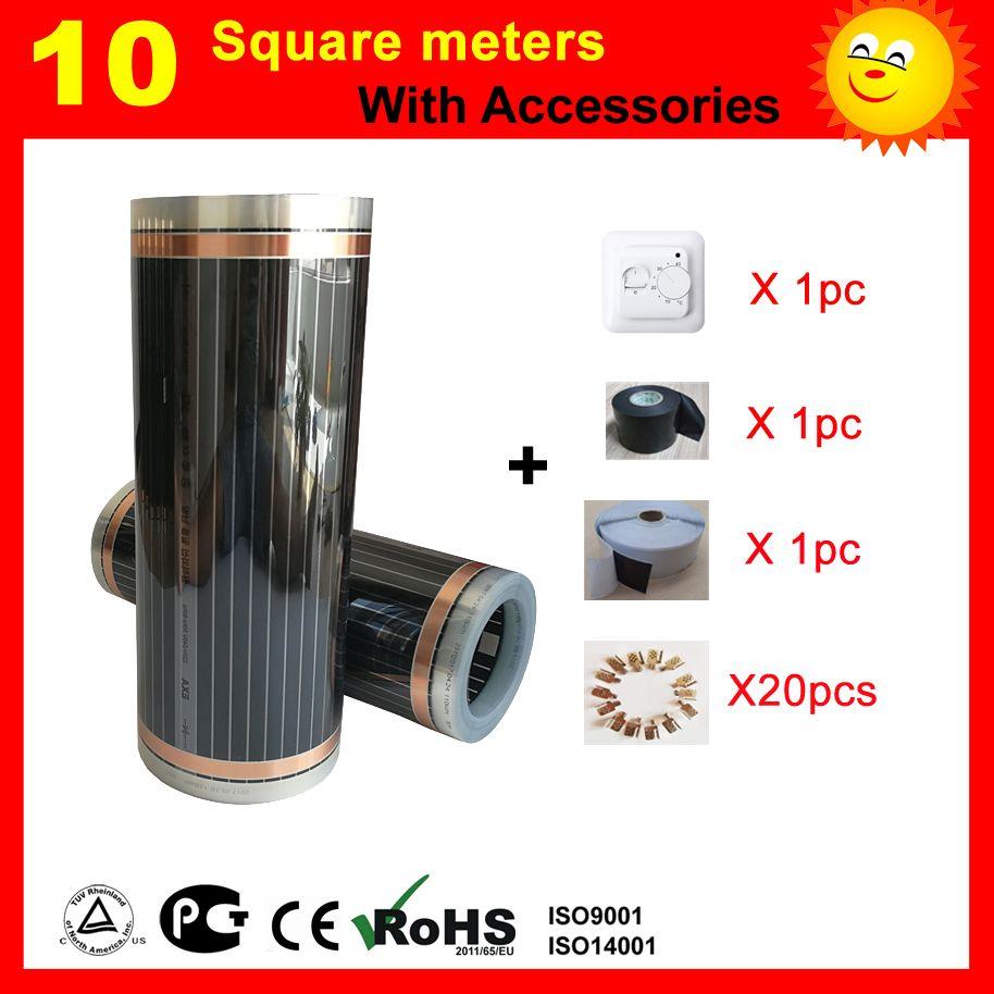 10 quadratmeter CE zertifiziert elektrische Heizung film, elektrische carbon element heizung film gut für die gesundheit