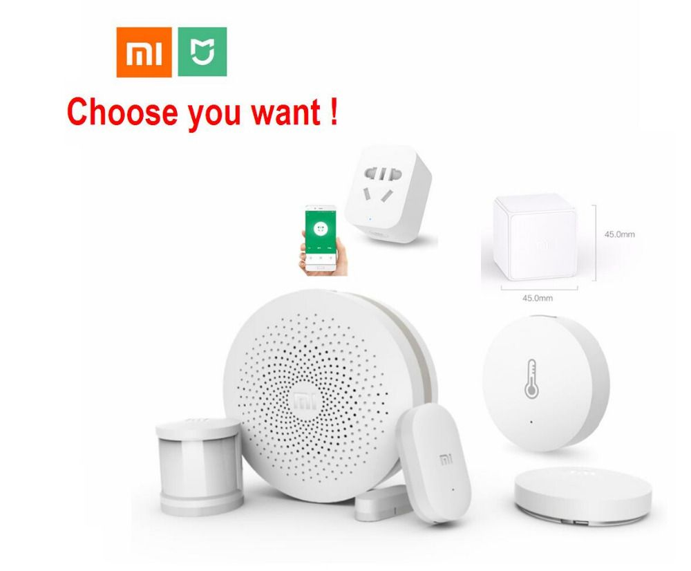 Xiaomi Smart Home Kit Mijia Gateway Door Window Human Body Sensor Temperature Humidity Sensor Wireless Switch Zigbee Socket cube