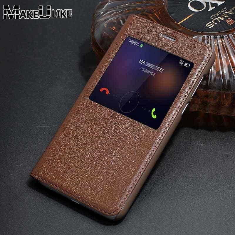 MAKEULIKE étui pour Huawei Honor 8 en cuir véritable couverture de luxe fenêtre vue Coque en cuir véritable pour Huawei Honor 8 étui à rabat