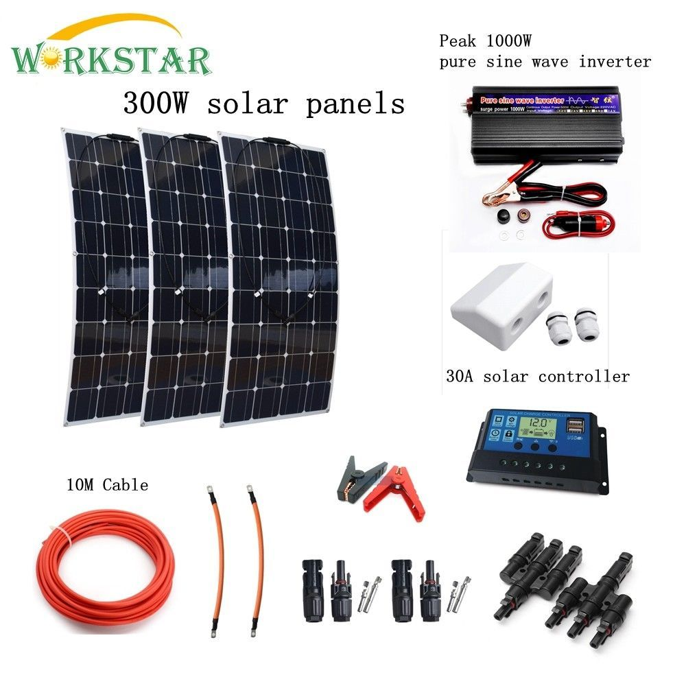 Complete 300W Solar System for Beginner 3X100W Solar panel 1000w Inverter with Installation Accessories For Yacht RV Boat