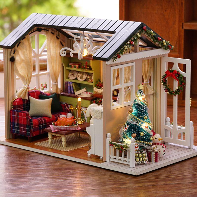 CUTEBEE muñeca casa miniatura bricolage muñecas con muebles de casa de madera de juguetes para los niños de vacaciones Z009