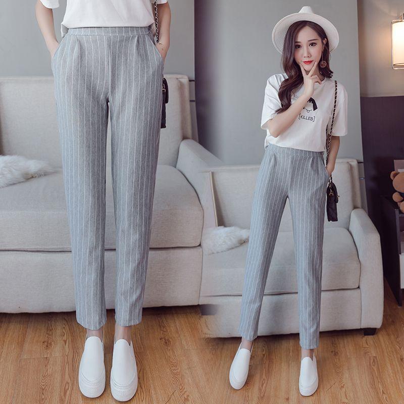Summer autumn female fashion elastic waist casual stripes peneil pants women pants <font><b>work</b></font> wear trousers harem pants drop shipping