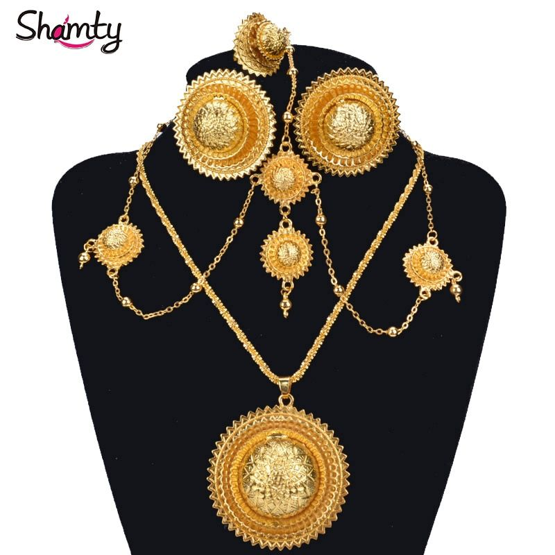 Shamty Ethiopian Bridal Jewelry Sets Pure Gold Color African Wedding Earrings Necklaces Rings Headdress Set Habesha Style A30036