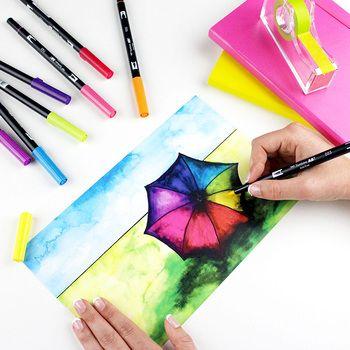 Japan Colorful Art Marker Pen Dual Head Design Brush Marker Pen Manga Markers Pens Artist Painting Supplies School Stationery