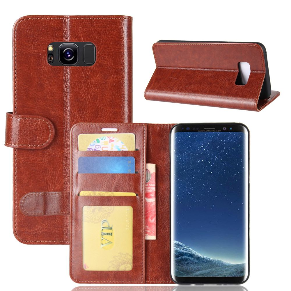 S8 Case for Samsung Galaxy S8 G950U G9500 Cases Wallet Card Stent Book Style Flip Leather Covers Protect Cover black for SM G950