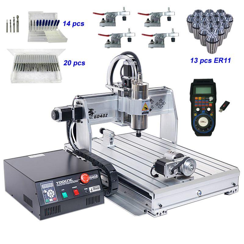 2200 watt 4 Achsen CNC Router 6040 USB CNC Fräsen Maschine mit Wireless Mach3 MPG Anhänger Handrad Controller und Gravur werkzeuge