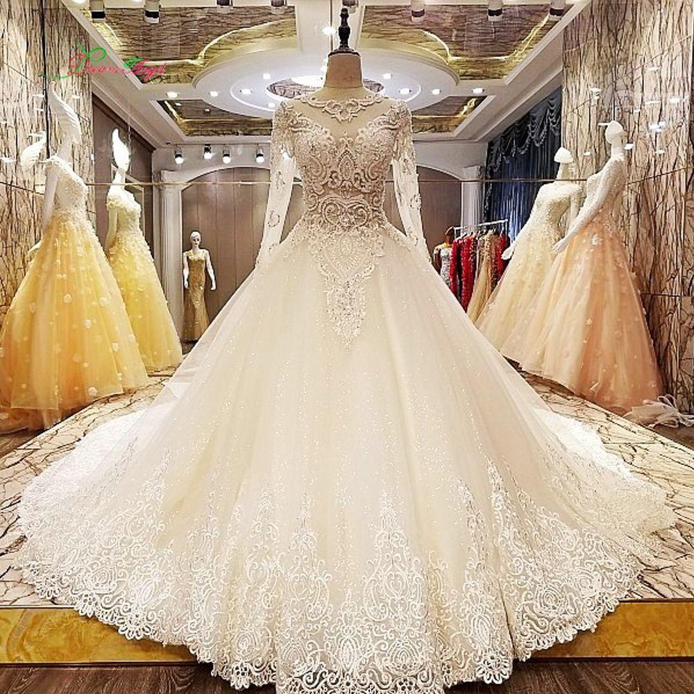 Dream Angel Vestido De Noiva Long Sleeve Lace Wedding Dress 2017 Sexy Illusion Embroidery Royal Train A Line Vintage Bridal Gown