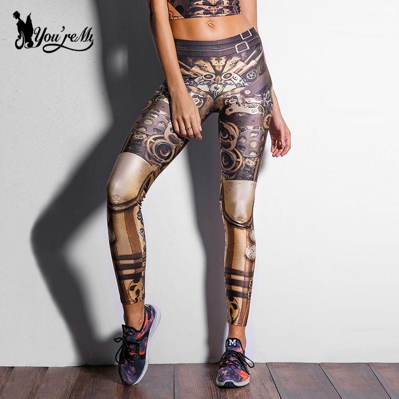 [Tu es Mon Secret] Design De Mode Steampunk Femmes Pantalon Star Wars leggins Taille Haute Vitesse Mécanique 3d Imprimer leggings pour Les Femmes