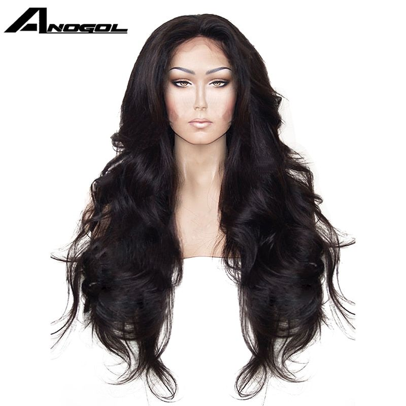 Anogol High Temperature Fiber Hair Natural Hairline Glueless Long Body Wave 1B Black <font><b>Synthetic</b></font> Lace Front Wig with Middle Part