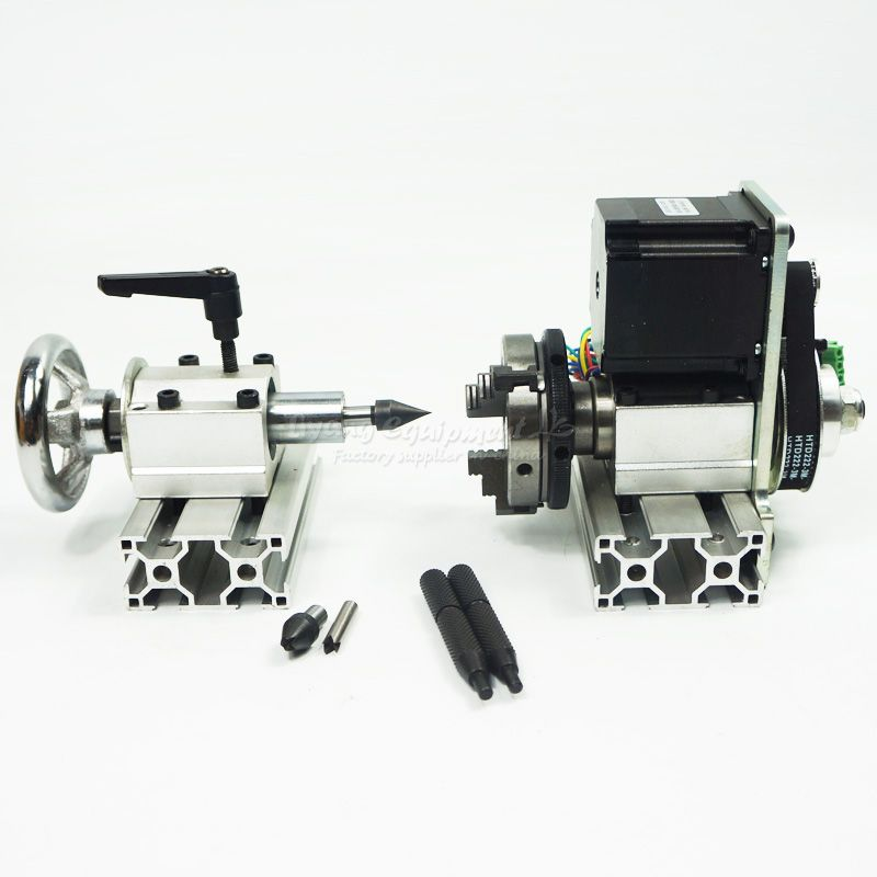 DIY CNC 4th axis Rotary axis with chuck for cnc router wood drilling machine