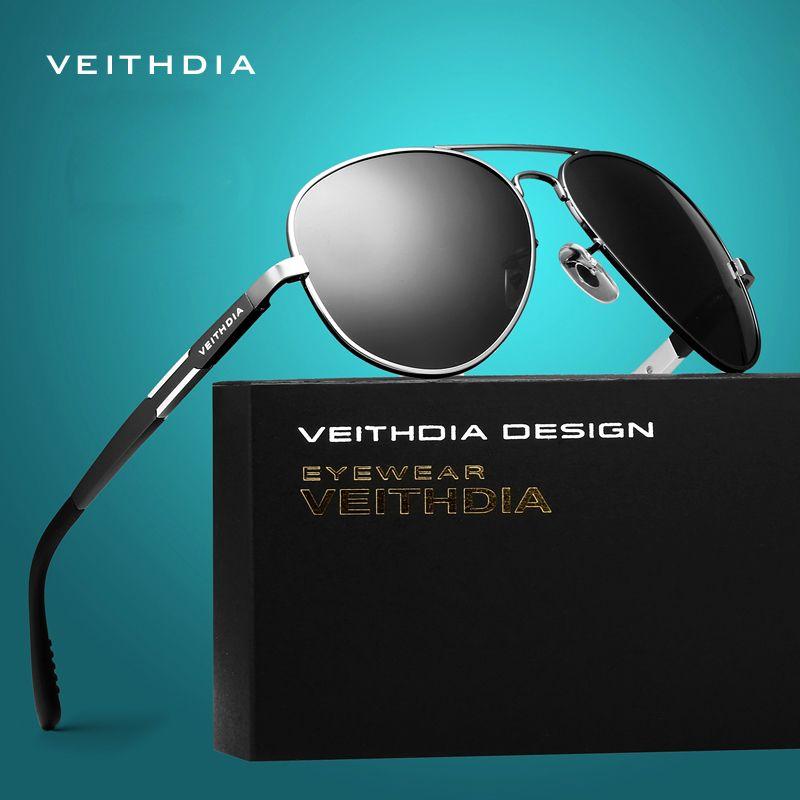 VEITHDIA aluminium magnésium hommes lunettes de soleil polarisées lunettes de soleil mâle classique lunettes hommes Oculos de grau 6695