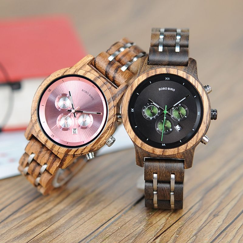 BOBO BIRD WP18 Wooden Watches for Women Luxury Wood Metal Strap Chronograph Date Quartz Watch Luxury Versatile Ladies Timepieces