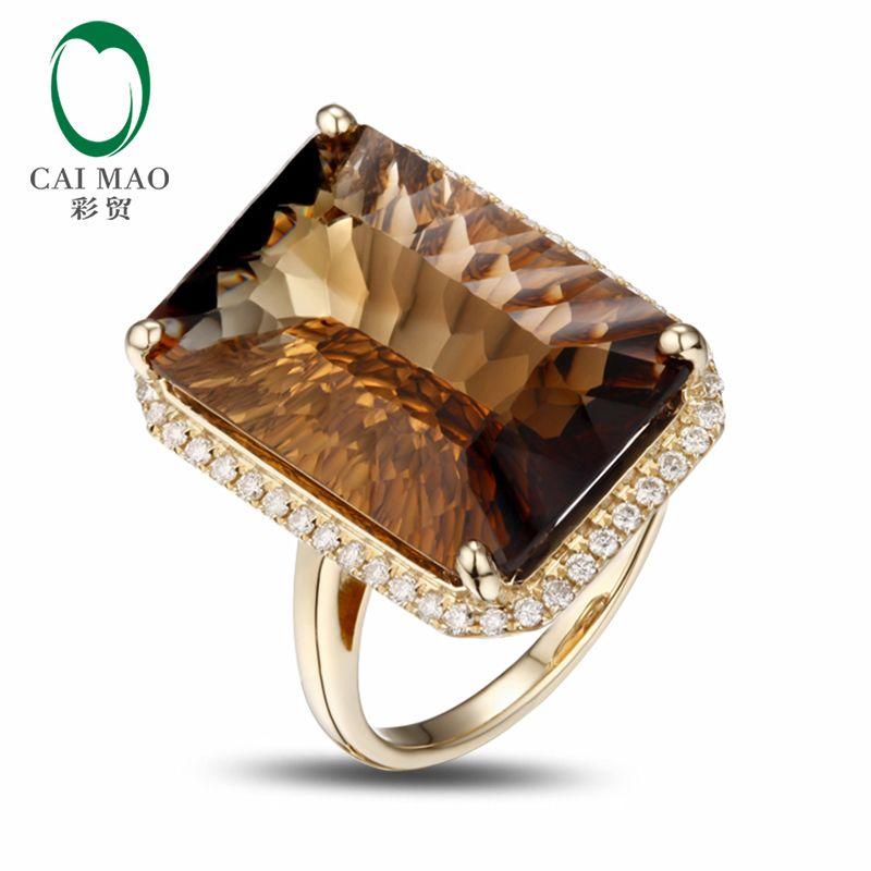 14 karat Gelb Gold 17.8CT Smaragd Cut Smoky Topaz Engagement Diamond Ring