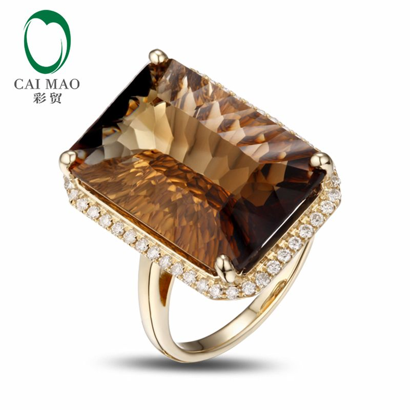 14K Yellow Gold 17.8CT Emerald Cut Smoky Topaz Engagement Diamond Ring