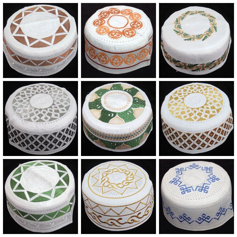 White Men Caps hot sales newest muslim men hats arabic men prayer caps islamic embroidery caps