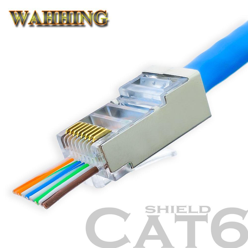50/100pcs RJ45 Connector Cat5e Cat6 Network Connector Shielded Modular 8Pin Rj45 PlugUTP Terminals Have Hole HY1549