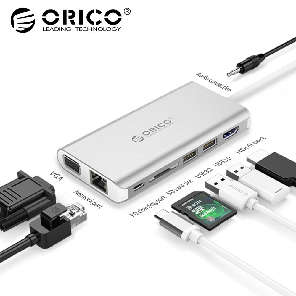 ORICO 8 in 1 USB HUB USB-C TO HDMI RJ45 HUB For MacBook Samsung Galaxy S9 Note 9 Huawei P20 Pro Type C USB 3.0 HUB